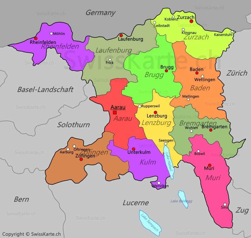 Map of Canton of Aargau SwissKartech