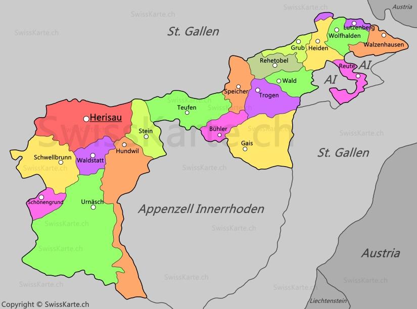 Map of Appenzell Ausserrhoden SwissKartech