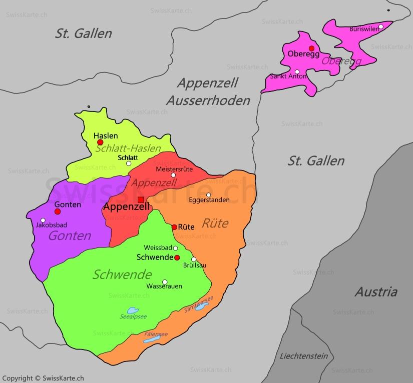 Map of Appenzell Innerrhoden SwissKartech