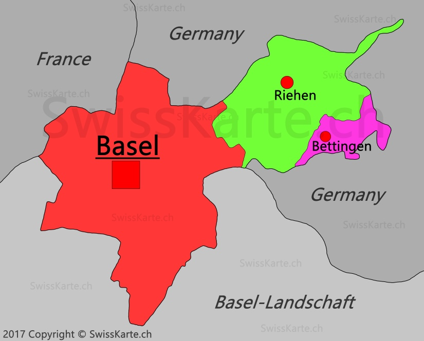 Map of Canton of BaselStadt SwissKartech
