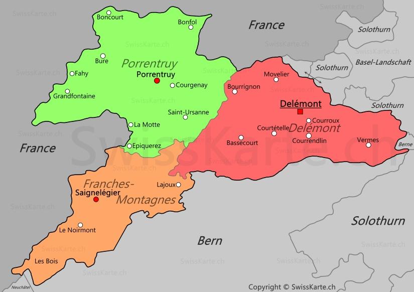 Map of Canton of Jura SwissKartech