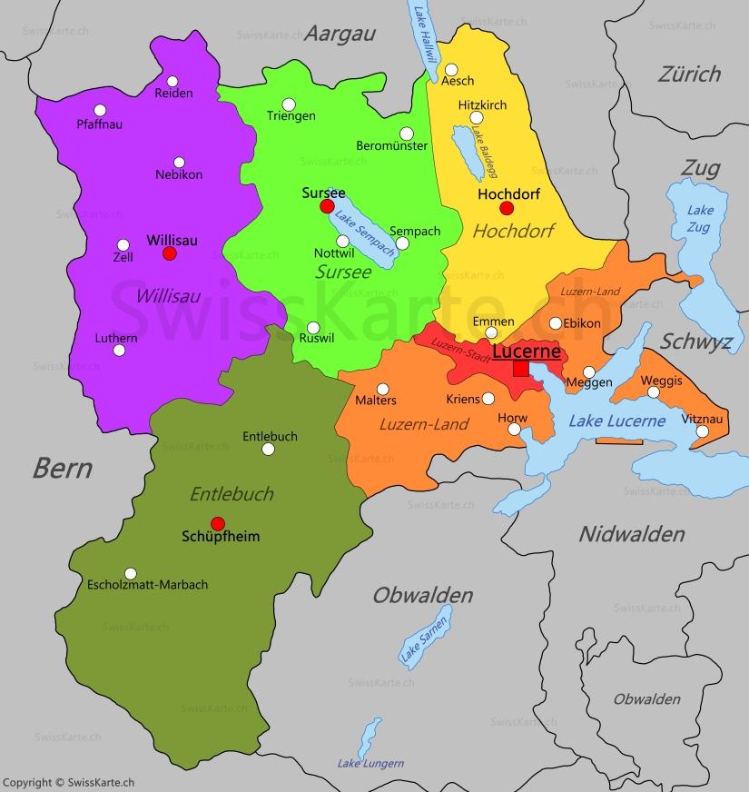 Map of Canton of Lucerne SwissKartech