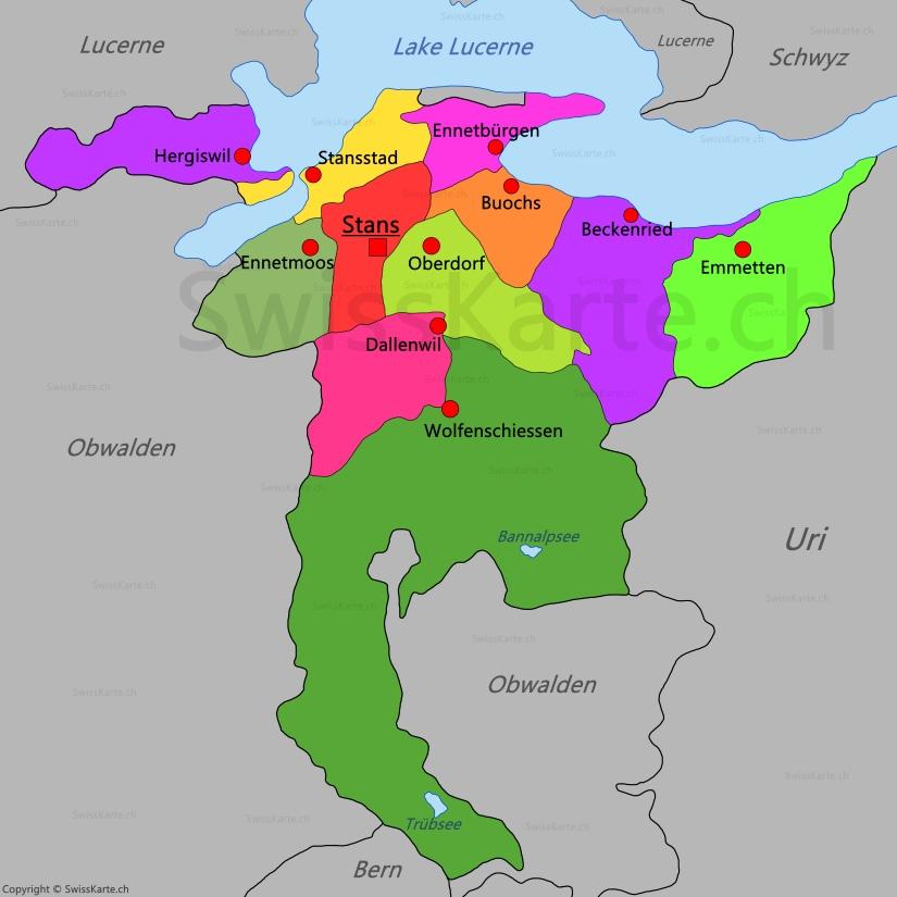 Map of Canton of Nidwalden SwissKartech