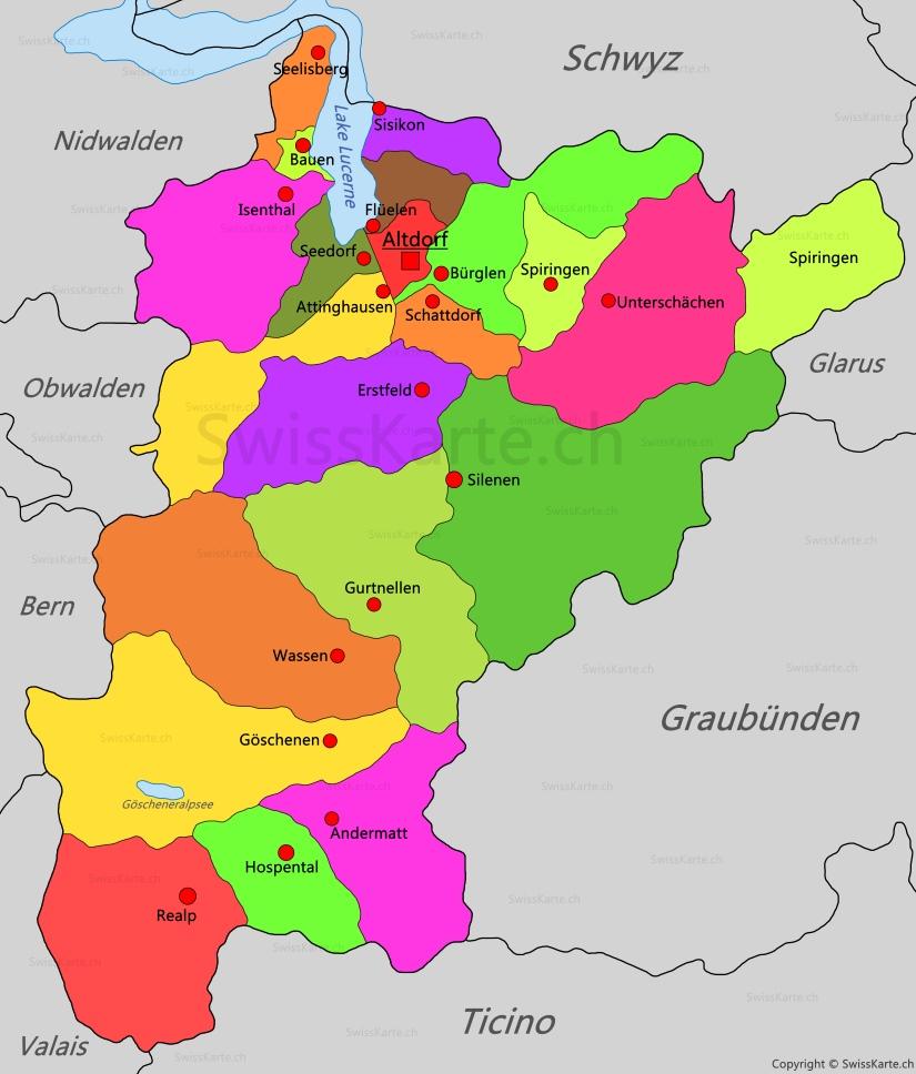 Map of Canton of Uri SwissKartech