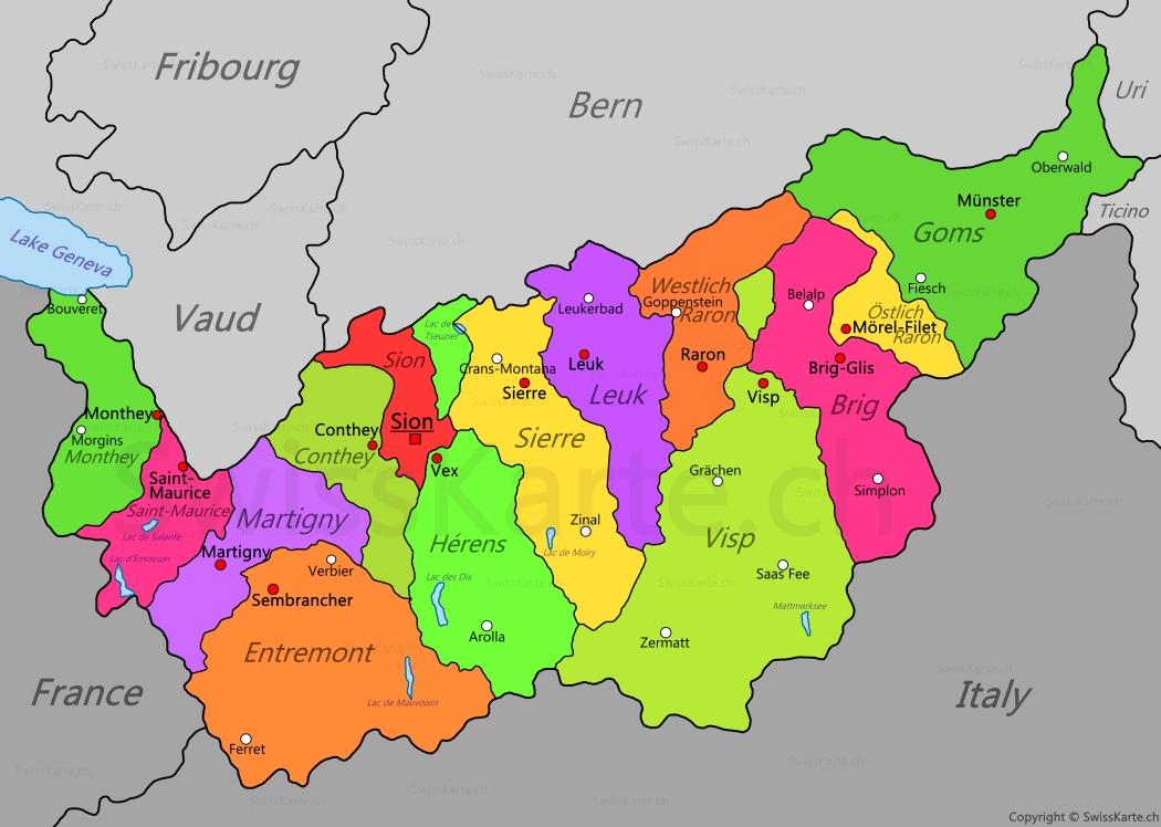 Map of Canton of Valais SwissKartech