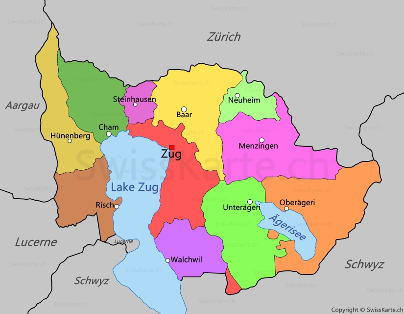 Map of Canton of Zug - SwissKarte.ch