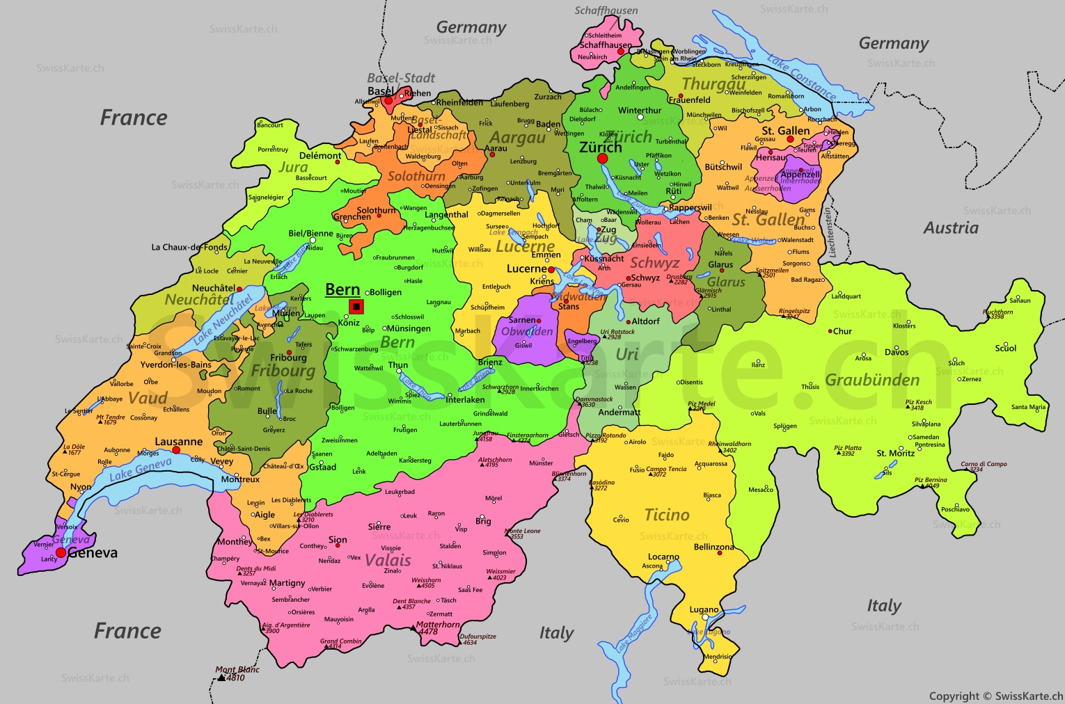 Map of Switzerland SwissKartech