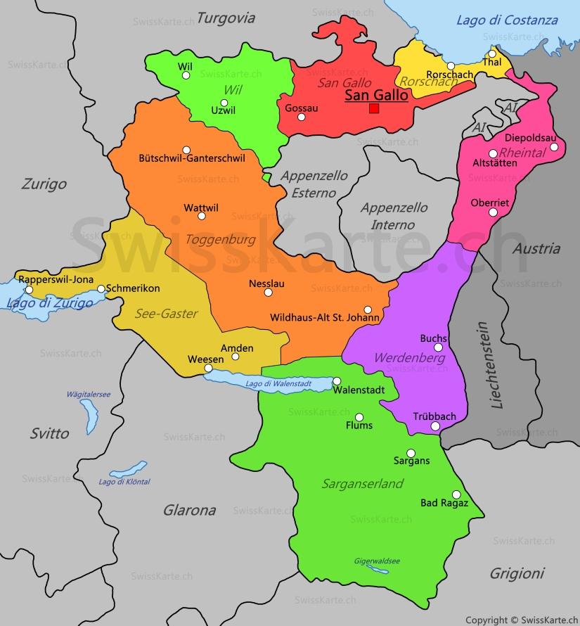 Cartina Muta Svizzera Cantoni.San Gallo Svizzera Mappa