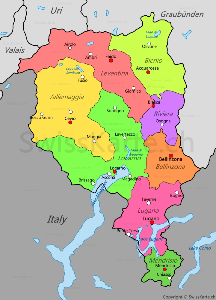 Cartina Ticino Svizzera.Mappa Del Ticino Swisskarte Ch