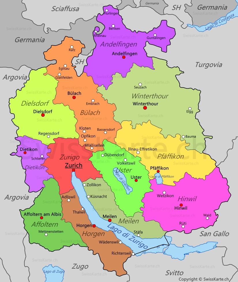 Cartina Zurigo.Mappa Di Canton Zurigo Swisskarte Ch
