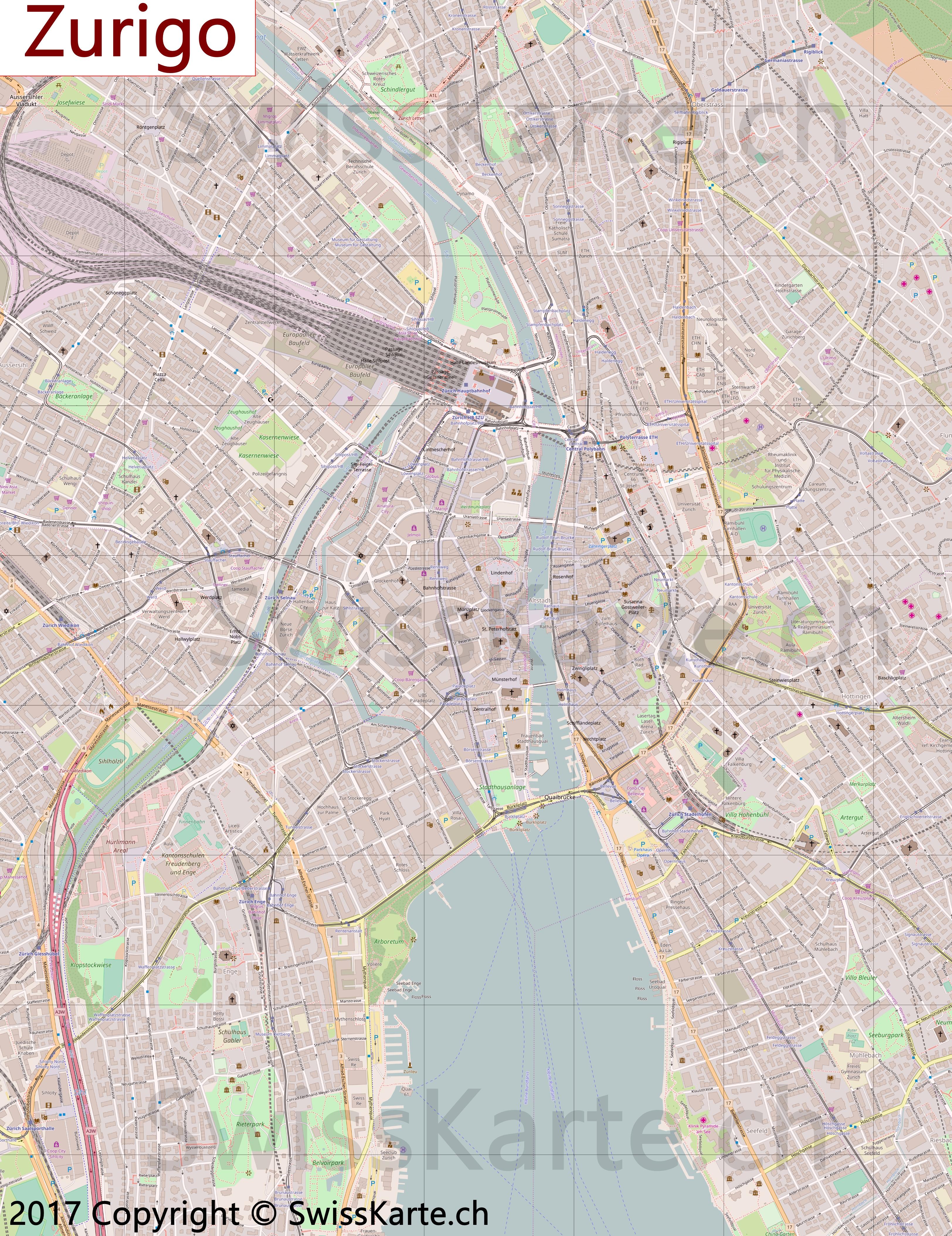 Cartina Zurigo.Mappa Di Zurigo Swisskarte Ch