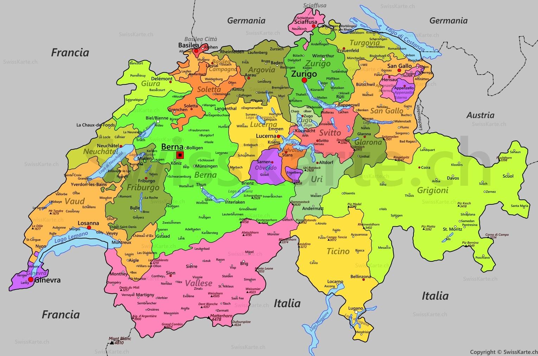 Cartina Cantoni Della Svizzera.Mappa Della Svizzera Swisskarte Ch