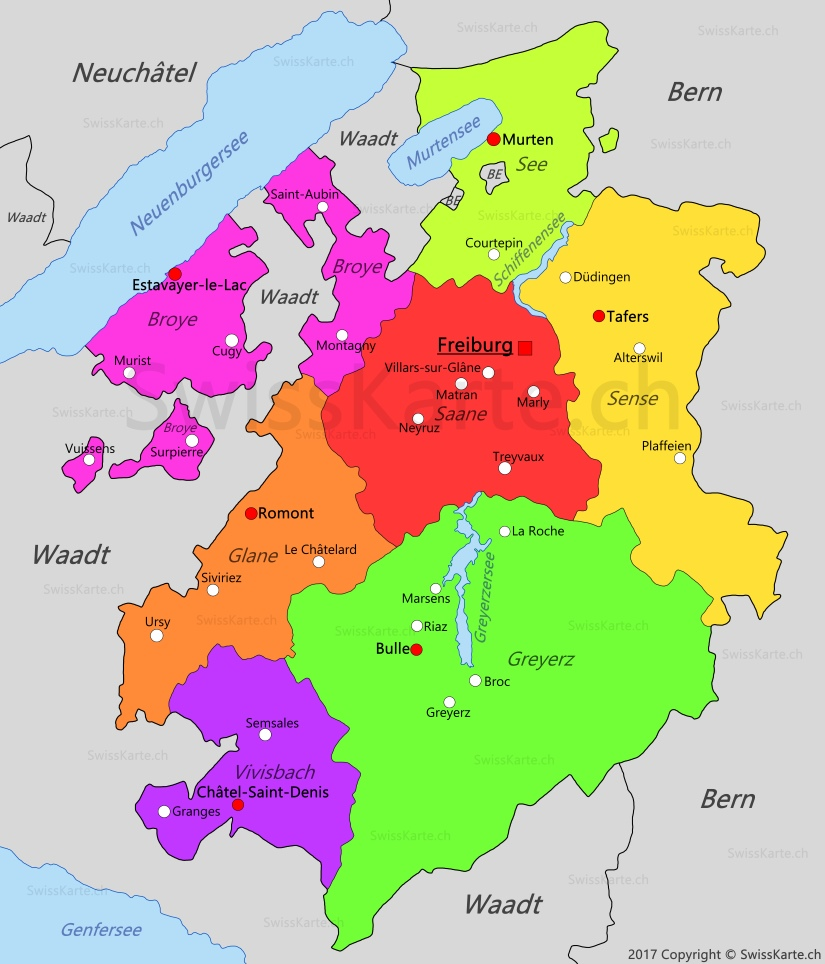 karte freiburg Karte Kanton Freiburg   SwissKarte.ch
