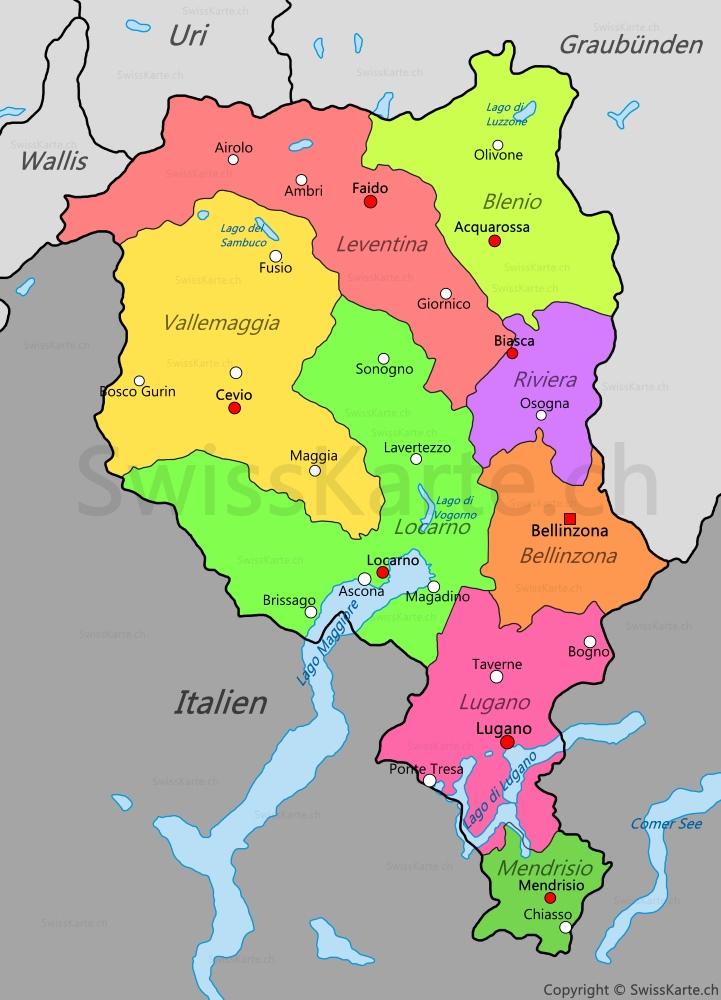 Karte Kanton Tessin Swisskarte Ch