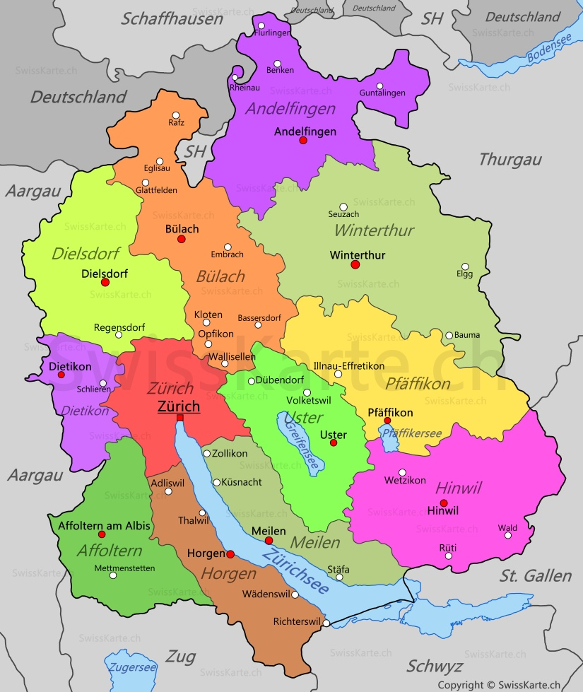zürich karte Karte Kanton Zürich   SwissKarte.ch