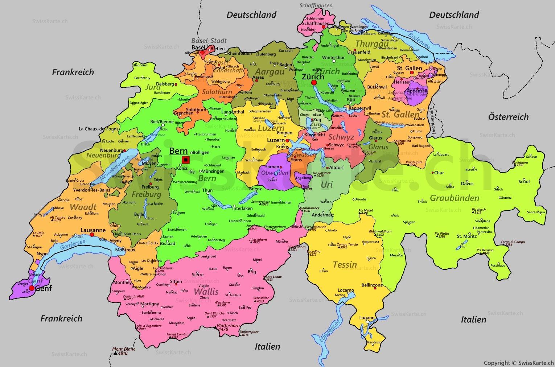 Die Schweiz Karte | Kleve Landkarte